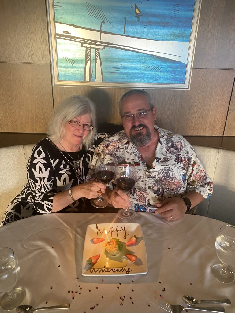 27th Anniversary dessert Ruth Chris Embarcadero San Diego